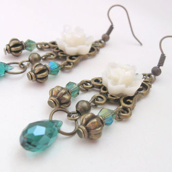 Jasmine - oriental vintage earrings with teal crystal teardrops by PragueVintage