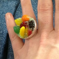 Vintage Sugar Glass Fruit Mixed Cocktail Sterling Plated Ring