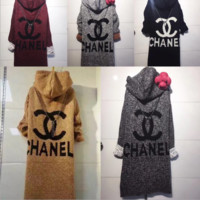 Long spring and autumn hooded knit sweater Cardigan loose long-sleeved Europe and the United States new cardigan jacket