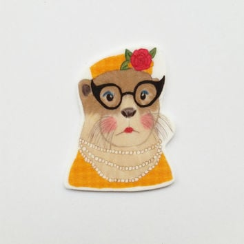 Retro Otter brooch - statement jewelry - shrink plastic brooch - shrink plastic jewelry
