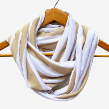Tan and White Stripe Jersey Knit Infinity Scarf // Striped Scarf // Beige // Tan Stripes // Infinity Scarves // Back to School // Taupe //