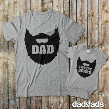 Dad Beard and Future Beard Matching Shirts for Father and Son