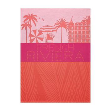 French Riviera Coral Tea Towel Set of 4 by Le Jacquard Francais