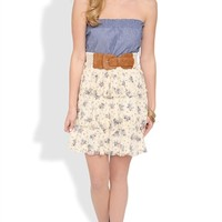 Strapless Dress with Chambray Bodice and Floral Tiered Skirt