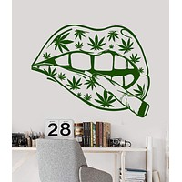 Vinyl Wall Decal Sexy Women's Lips Hemp Smoking Hippie Girl Stickers Unique Gift (1262ig)