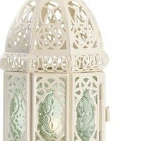 Gifts & Decor White Fancy Antique Lattice Candle Lantern with Stand