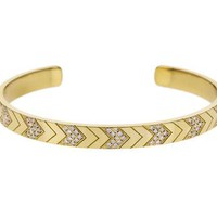 Yellow Gold Double Diamond Chevron Cuff Bracelet