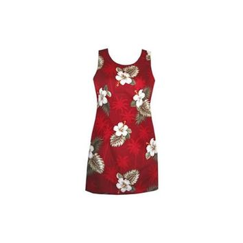 Lava Red Short Hawaiian Sheath Floral Dress