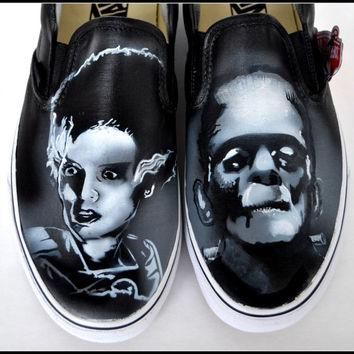Gifts for Boyfriends, Personalized Shoes, Hand Painted Vans, Frankenstein, Bride of Fr