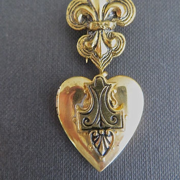 Vintage French Fleur di Lis Heart Locket Dress Clip