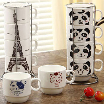 Originality Tower Animal Pattern Four Cups Set Ceramic Mug/Cup
