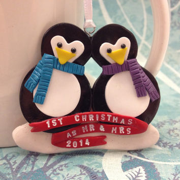 Custom Penguin Couple Ornament, Personalized First Christmas Together Gift