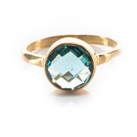 Blue Round Topaz Ring