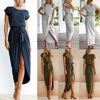 Women Ladies Summer Cocktail Party Long Maxi Belted Romper Dress Short Sleeve