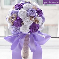New purple and white rose  wedding bridal bouquet bridesmaid bouquet for wedding decoration