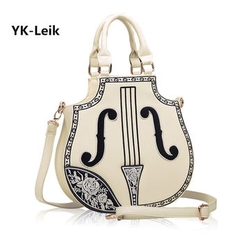 YK-Leik 2016 casual women bag handbags High quality PU leather shoulder bag for girl Creative personality violin handbag