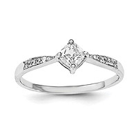 Sterling Silver Rhodium-plated Polished and Square Shaped CZ Ring