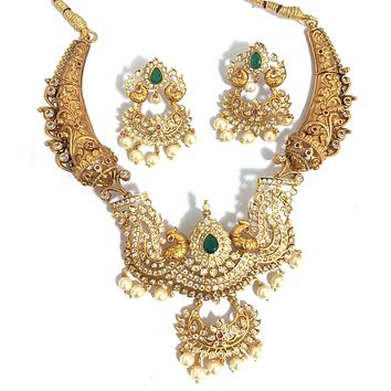 Dual matte gold finish Traditional bold choker necklace and earring set with CZ stones