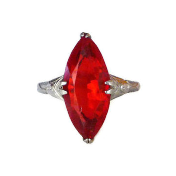 Art Deco Style Ring, Silver Plated, Red Glass, Marquise Cut, Promise Ring, Vintage Jewelry, Holiday Christmas, Gifts for Her