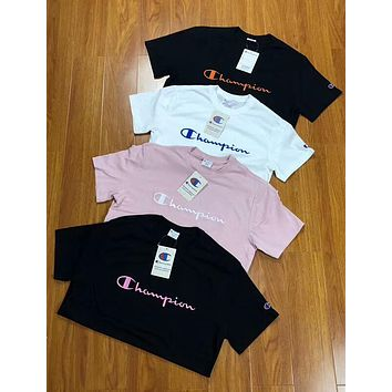 Champion 2018 men and women embroidered classic LOGO short-sleeved T-shirt F-AA-XDD