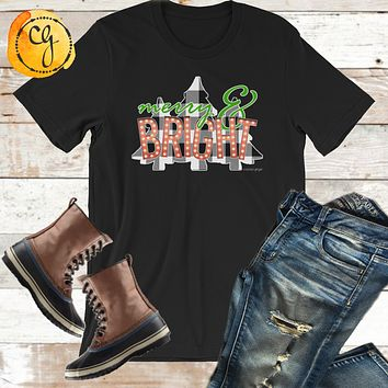 Merry and Bright Marquee Lights Buffalo Check Trees Jersey Tee