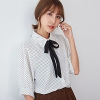 Buy BAIMOMO Elbow-Sleeve Dotted Bow-Tied Shirt | YesStyle