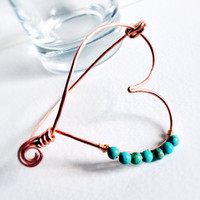 Turquoise heart bracelet, recycled copper wire bangle bracelet, wire wrapped bracelet, eco friendly bracelet, romantic gift