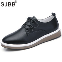 Women Flats Shoes Fashion Korean White Shoes Genuine Leather Lace Up Women's Casual Shoes Oxford Shoes Loafers