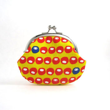 Frame Coin Purse- Orange and Blue Daruma on Yellow