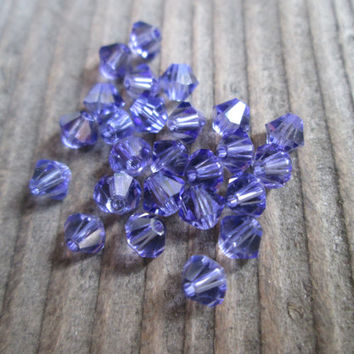 25 tanzanite purple 4mm bicone swarovski beads crystal beads beading supplies jewelry making supplies