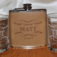 Groomsmen gifts,  flask and rocks glass set,  bachelor party gift,  best man gift,  flask set, personalized groomsmen gift,  groomsman flask