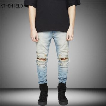 New Ripped biker jeans Men With Holes Super Skinny jeans homme Famous Designer Brand Slim Fit Destroyed Torn Jean Pants For Male