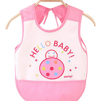 Waterproof Baby Bib Overclothes Painting Smock Apron Sleeveless Pink Ladybird