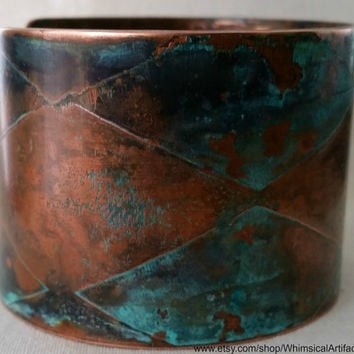Harlequin Patterned Etched Copper Cuff
