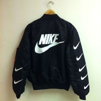 Nike x Alpha Industries MA-1 Trending Bomber Jacket Black I