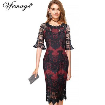 Vfemage Womens Sexy See Through Flare Bell Sleeve Contrast Floral Lace Elegant Cocktail Party Bodycon Vestidos Sheath Dress 150