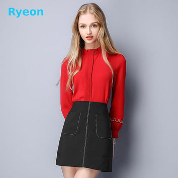Ryeon Fashion2016 Winter pleated solid fabric  Women Blouse Embroidery Ruffled Puff Sleeve high quality simple Temperament shirt