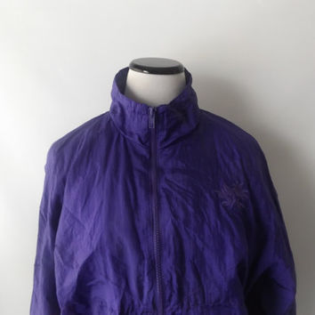 90s Purple Windbreaker Nylon Jacket Vintage Embroidered Flower Athetic Lightweight Womens Coat Size L Large 1990s Hip Hop Clothing Retro Top