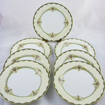 "30% Sale - 6 Lunch Plates 8 3/4"",  1920 Noritake Penelope, pattern 76837, Morimura, Made in Japan"