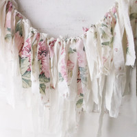 Pink Shabby Chic Roses Fabric Garland. Romantic Shabby Wall Decor. Photo Prop. Weddings. Birthdays.Window Valance. White Pink Pastels