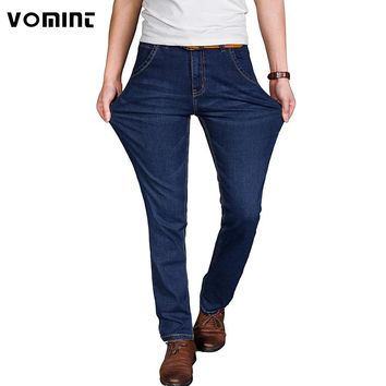 Vomint Four Seasons style  Men Casual Jeans  Slim Straight Elasticity  Jeans New Fashion Loose Waist Long Trousers S6CJ066