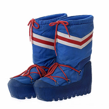 Vintage 80s Moon Boots 1980s Lasco New Wave Mod Red White and Blue Skiing Snowboard Party After Ski Snow Boots / Mens 5-6 / Womens 8-9