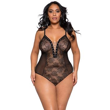 Sexy Black Midnight Plus Size Sheer Lace and Mesh Lace-Up Bodysuit