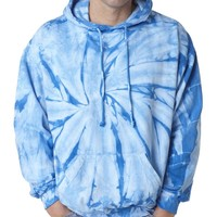 Adult Tie-Dyed Spider Blended Hoodie (Baby Blue) (Medium)