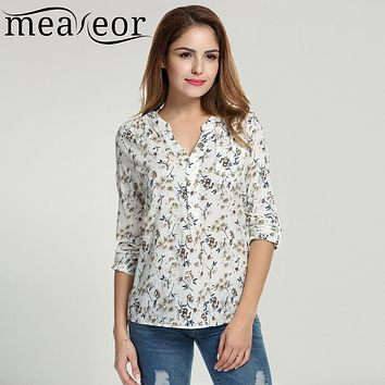 Meaneor Women Floral Print Blouse Tops 1950s 60s Vintage Autumn Clothing Casual Roll Up Sleeve Cotton Fabric  Blouse