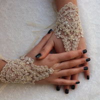 wedding gloves,champagne lace gloves,fingerless,costume accessories