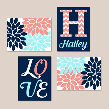 NAVY CORAL Aqua Nursery Wall Art, Canvas or Prints Baby GIRL Love Flower Burst Girl Bedroom Decor  Girl Monogram Name Set of 4 Crib Decor