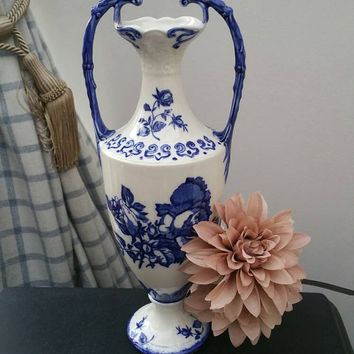 ENGLISH IRONSTONE blue and white Staffordshire vase vintage Tall blue and white double handled urn ships worldwide from UK