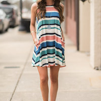 Stroll On The Beach Dress, Jade-Apricot