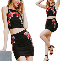 Flower embroidery Two-piece suit dress Simplee Dress Vintage Suede bodycon